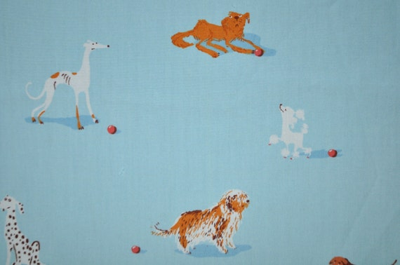 Blue Dog Leg Panel Heather Ross Munki Munki Cotton