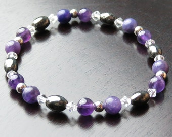 Grief, Addiction, Anxiety & Insomnia Bracelet for Inner Peace, Self-Esteem,Fear and Stress with Amethyst, Hematite/Magnetite and Lepidolite!