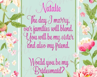 Sister-in-law to be / Will you be my bridesmaid?/ green & pink  Floral