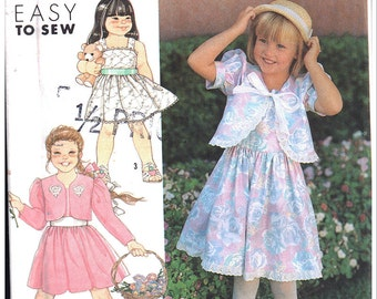 Simplicity Sewing Pattern 7191 Girls' Dress, Cropped Jacket  Size:  A  2-6X  Used
