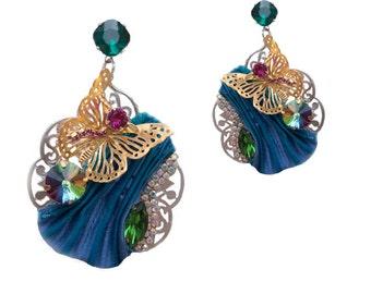 Romantic blue shibori silk pierced earrings