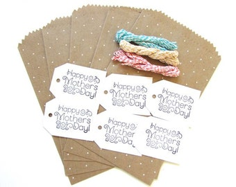 Mother's day gift bags and tags w/twine