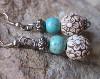 boho earrings turquoise blue stone engraved flower acrylic beads bohemian earrings cottage chic Lavish Lucy Designs