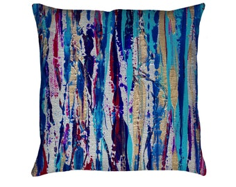 Silver Streak Printed Throw Pillow. Apartment and Dorm Decor, Sofa Cushion, Modern Art, Abstract Art, Knife Painting, Striped Pillow, Lines