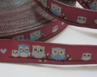 Ribbon 15 mm owls - purple