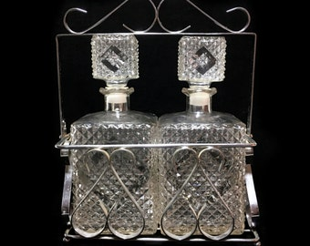 Vintage Tantalus Barware Set with 2 Diamond Point Clear Glass Decanters in Metal Caddy Holder