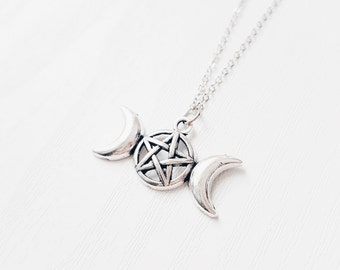Silver Pentagram Moon Necklace | Pagan Jewellery | Triple Goddess | Witching Hour | Crescent Moon Jewelry | Moon Pendant