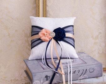 Wedding Ring Bearer Pillow, Wedding Ring Pillow, Navy Blue and Blush Wedding Pillow, Blush Navy Wedding Accessories