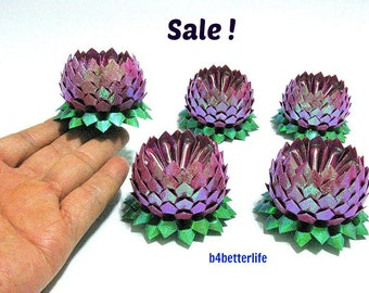 Sale! Lot of 5pcs Maroon Color Small Origami Lotus. (RS paper series). #FLT-144.