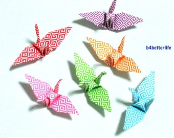 100pcs Assorted Colors Origami Cranes Hand-folded From 3.2 x 3.2cm Square Paper. #MD107a.  (MD paper series).