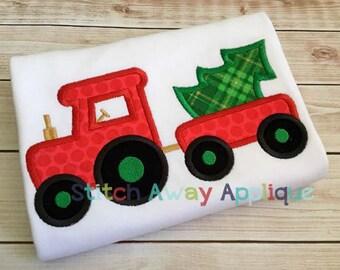 Christmas Tree Tractor Machine Applique Design