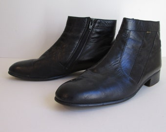 Vtg BALLY Black Ankle Boots Bally Suisse Club Swiss made Beatle boot size 9 1/2 E