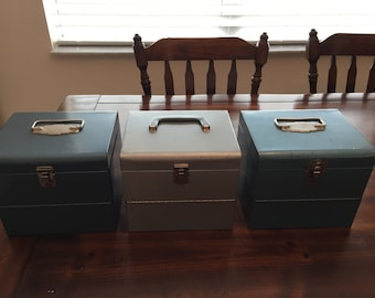 Vintage Metal Movie Reel Box Storage Container with Handle