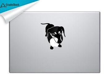 Mac Decal Cute Dog Playing Fetch - Laptop Decal Macbooc decals