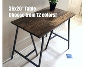 36x20 Hand-Finished Wood Desk on Ikea Trestle Legs. Choose any color!