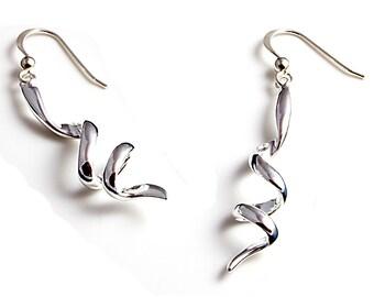 Sterling Silver Earrings, Corkscrew Earrings, Long Drop Earrings, Silver Dangle Earrings