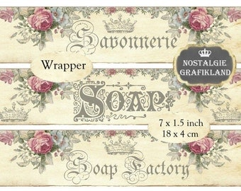 Soap Wrapper Savon Soap Savonnerie Shabby Chic Instant Download digital collage sheet E106