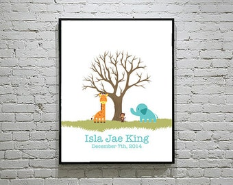 Baby Shower Thumbprint Tree 2 Guestbook with Safari Animals Set 1