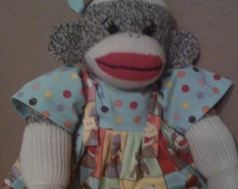 Adorable Folk Art Sock Monkey Doll