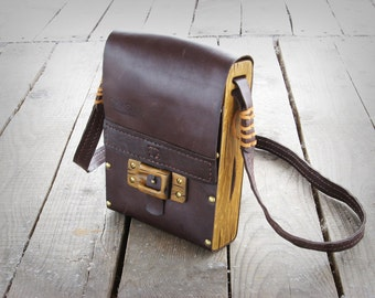 Hand sewn unique leather -  wood shoulder bag / ready to ship
