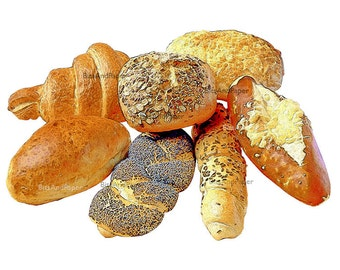 8x10 bread illustration, retro digital image, food art, kitchen art, vintage inspired, food illustration, Italian bread, digital bakery