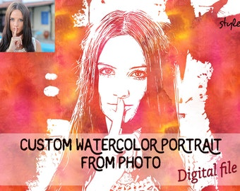 Custom watercolor portrait from photo, digital editing, printable jpeg photo, high resolution, from photo to watercolor illustration, 8x10