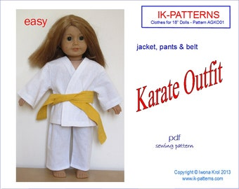 18 inch girl doll clothes patterns KARATE outfit UNIFORM  Jacket belt easy to sew pdf american pattern download print