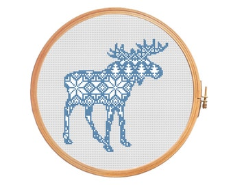 Christmas moose nordic pattern - cross stitch pattern - elk traditional pattern ornament merry christmas decoration reindeer Scandinavian
