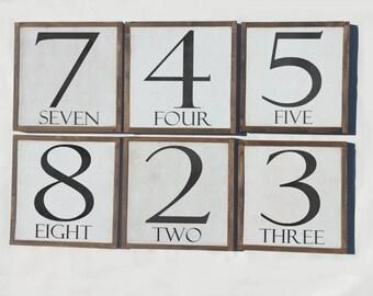 Monogram sign, Number signs  framed letter wood sign 12x12