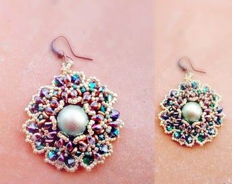 DIY Photo Tutorial Eng-ITA *Chika*earrings ,PDF Pattern 92 with Pearls,swarovski,One bead,es-o & seed beads,instructions,beadweaving