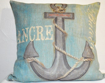 Square Pillow Cases Cotton Linen Couch Cushion Covers Decorative Zippered Throw Pillow Covers 17 X 17 Inch Blue Rusty Anchor.