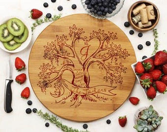 Custom Round Cutting Board, Personalized Cutting Board, Rustic Tree Lovebirds, Wedding Valentines Anniversary, Bamboo Wood --21049-RBRD-001