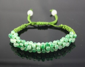 Free Shipping - Big Adjustable Delicately Hand-knotted 81 Green & Light Green Jade Beaded String Bracelet