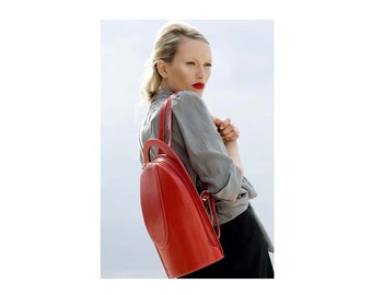 Red Leather Backpack - Women's Backpack - Luxury Backpack - Italian Leather - Stylish Rucksack