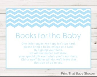 Baby Shower Invitation Insert - Books For Baby, Baby Shower Inserts, Printable Invitation Insert, Books For The Baby Card, Blue Chevron