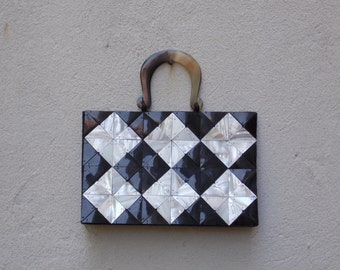 Black & White Checker Mother of Pearl Purse Handbag - Tortoise Shell Handles