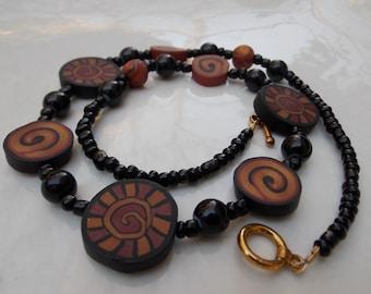 Brown Black Swirl Bead Necklace, Handmade Polymer Clay Beads