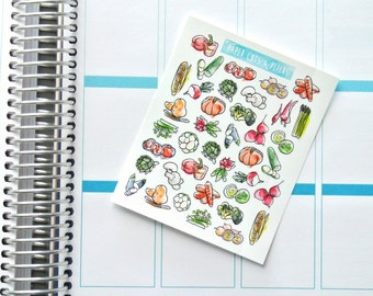 Mini Set of Watercolor Vegetables Matte Stickers