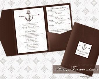 DIY Printable Wedding Invitation Pocket Template Set | Printable Folder Invitation (classic) | Always Forever in Cocoa