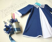 "Dress children's - baby ""Back to School"" with long sleeves knitted dark blue and white with a beautiful lace collar ."