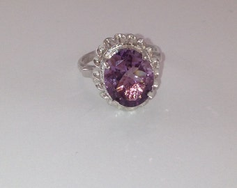 Custom Made Amethyst Sterling Silver Solitaire Ring