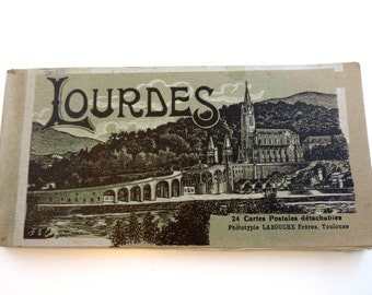 French Vintage Lourdes Souvenir Postcard Book With 24 Postcards/French Vintage Postcards/Vintage Postcards/Vintage Postcard Book
