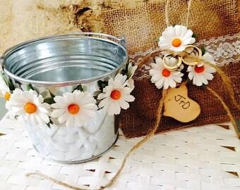 Rustic Flower Girl Basket - Flower Girl Pail - Ring Bearer Pillow - Rustic Wedding - Shabby Chic Wedding Decor - Burlap Ring Bearer Pillow