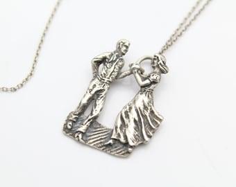 Cute Romantic Vintage Dancing Couple Necklace Sterling Silver. [6505]