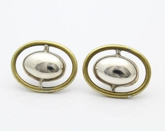 2 Tone Modernist-Minimal Design Sterling Silver Oval Earrings. [6658]