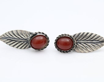 Vintage Coro Screw-Back Feather Earrings With Red Glass in Sterling Silver. [8598]