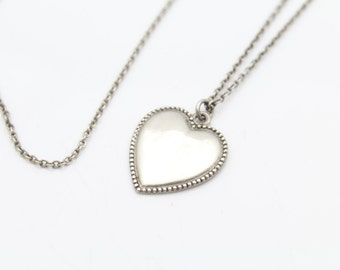 """Vintage Simple Heart Pendant in Sterling Silver With 16"""" Cable Chain. [8870]"""