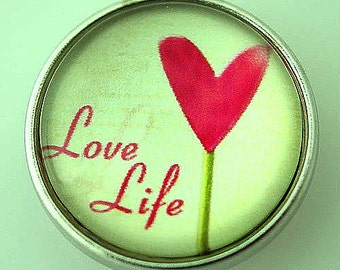 NEW! KB2893-N Love Life Art Glass Print Snap