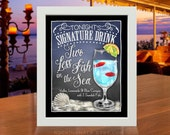 Beach Wedding, Rehearsal Dinner Decoration | Signature Drink Sign for Coastal Destination Weddings | Two Less Fish in the Sea Cocktail Sign