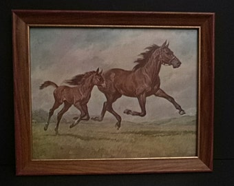 Framed Horse Print, Mare and Foal, Framed Lithograph Horse Print, Signed EG 1966 framed print of mare and foal
